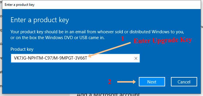 Enter Service Key for Windows 10 Professional
