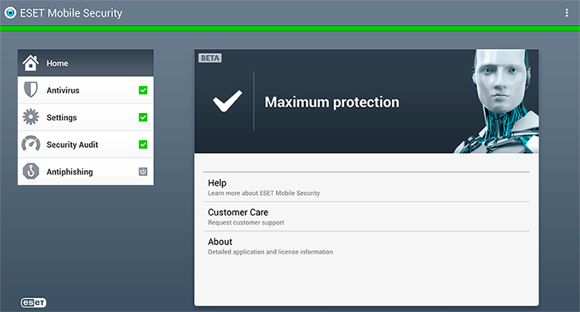 Eset Mobile Security Main Window